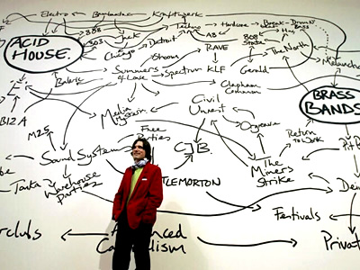 Jeremy Deller in front of his Acid Brass Mind Map