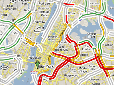 Traffic conditions on Google Maps